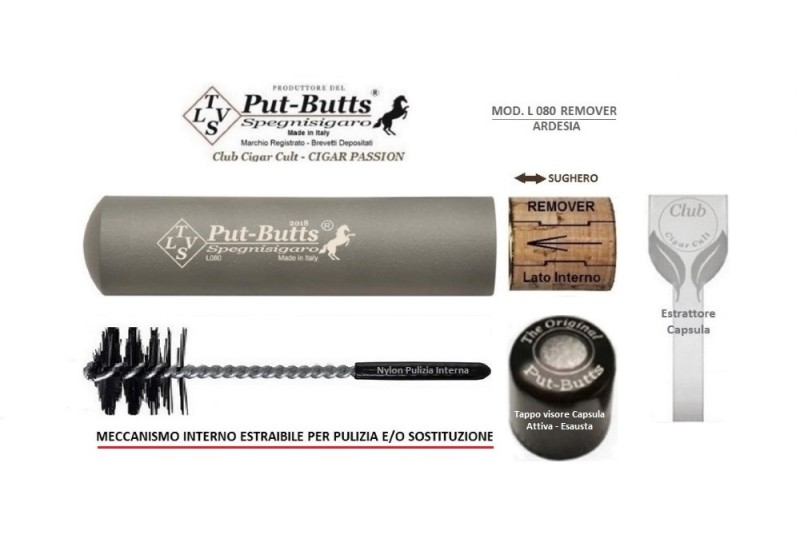 Put-Butts Spegnisigaro Singolo L 080 REMOVER Colore Ardesia - Made in Italy -