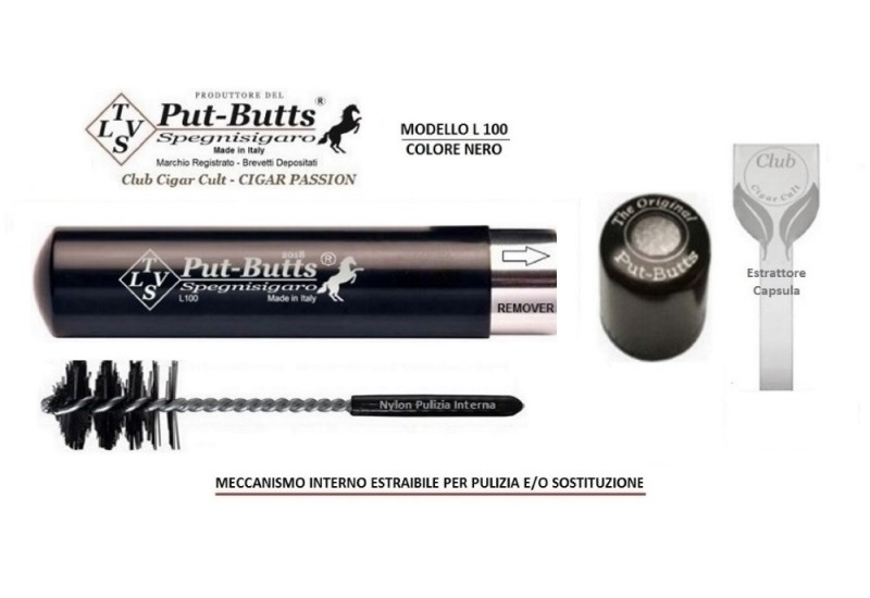 Put-Butts Spegnisigaro Singolo L 100 REMOVER Colore Nero - Made in Italy -