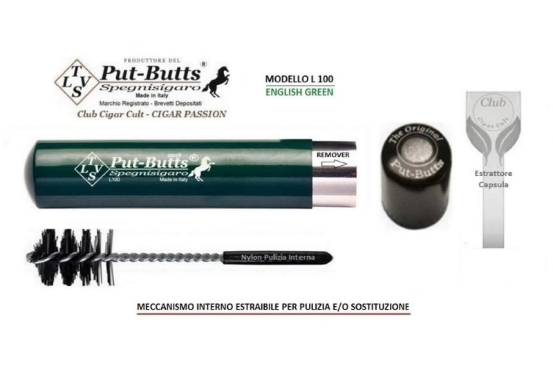 Put-Butts Spegnisigaro Singolo L 100 REMOVER Colore English Green - Made in Italy -