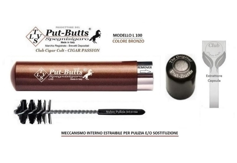 Put-Butts Spegnisigaro Singolo L 100 REMOVER Colore Bronzo - Made in Italy -