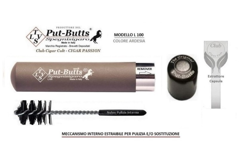 Put-Butts Spegnisigaro Singolo L 100 REMOVER Colore Ardesia - Made in Italy -