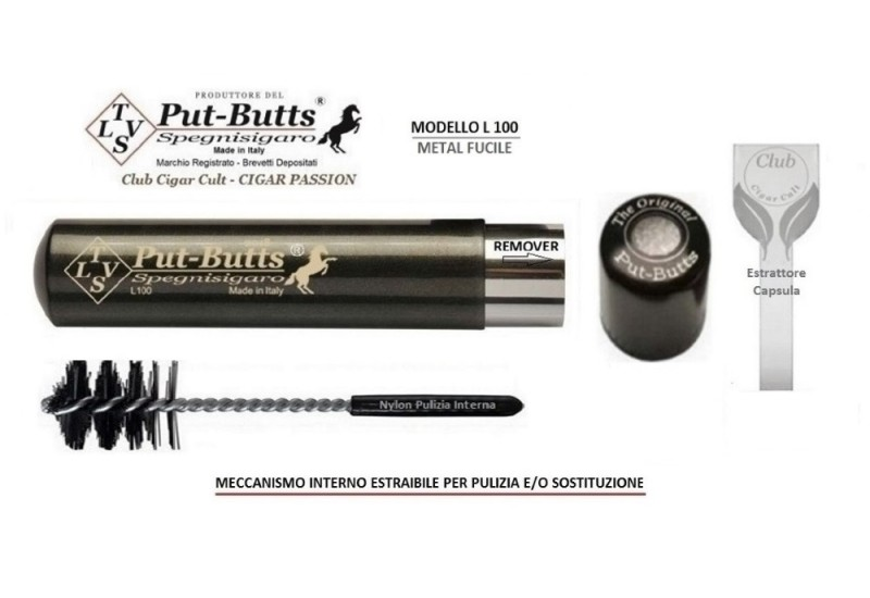 Put-Butts Spegnisigaro Singolo L 100 REMOVER Colore Metal Fucile - Made in Italy -