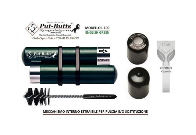 Put-Butts Spegnisigaro Doppio L 100 REMOVER Colore English Green - Made in Italy -